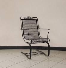 oak leaf wrought iron spring seat mesh patio chair ebth