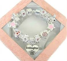 goddaughter charm bracelet daisymay sparkling pink silver goddaughter charm bracelet 18cm