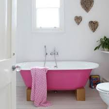 bathroom remodel ideas with pink tub and branches hearts wall