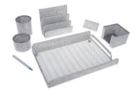 delicate office supply silver mesh desk set xq763 slvrm