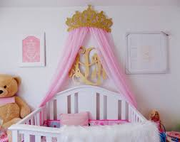 Crib Crown Canopy Wall Decor Gold with Sheer Panels