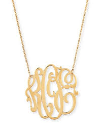 Monogrammed Necklace Jennifer Zeuner 18k Gold Vermeil Medium 3 Letter Monogram Necklace