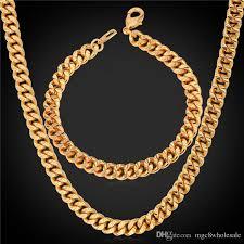 accessories chain necklace images 2018 u7 statement link chain necklace bracelet set 18k real gold jpg