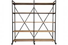 White And Wood Bookcase by Ludlow Metal And Wood Shelf