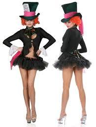 fantasy mad hatter alice costume black white multicolor