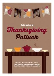 this thanksgiving potluck invitation features a fall hued banner and