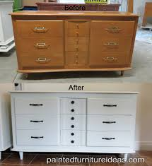 How To Paint Wood Furniture by Mid Century Dresser Painted White Dresser Mid Century And Hardware