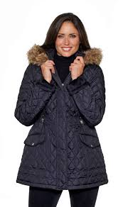 womens faux fur hooded long quilted jacket