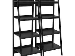 Leaning Ladder Shelf White Furniture Solid Wood Leaning Ladder Bookshelf In White Finish