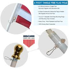 Amazon Com Flag Pole 6 U0027 Ft White Aluminum Flagpole Spinning