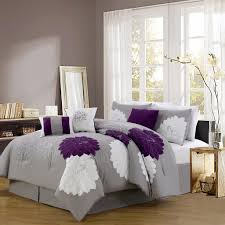 Plum Bedding And Curtain Sets 7 Piece Provence Embroidered Comforter Set