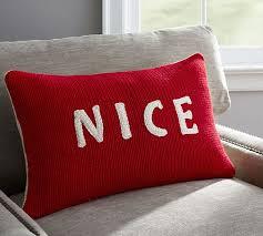 Christmas Pillows Pottery Barn Naughty Or Nice Reversible Knit Lumbar Pillow Cover Pottery Barn
