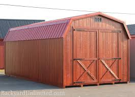 sheds high barn backyard unlimited 12x24 high barn with metal roof gable vents mahogany stain and 8 x8 barn door