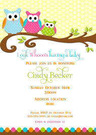 Babyshower Invitation Card Owl Baby Shower Invitations Kawaiitheo Com