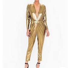 gold jumpsuit 73 apparel metallic gold jumpsuit from