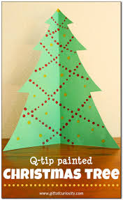 q tip painted christmas tree craft gift of curiosity