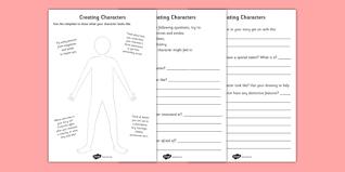 creating a character worksheets creating a character