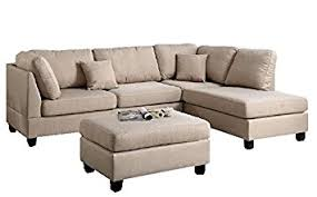 Sectional Sofa With Ottoman Modern Contemporary Polyfiber Fabric Sectional Sofa