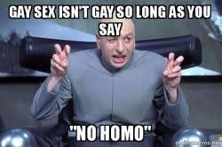 Gay Sex Memes - gay sex isn t gay so long as you say quot no homo quot dr evil