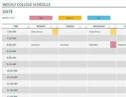 Study Schedule Template Excel Weekly Schedule Office Templates