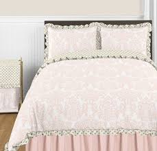 blush pink gold and white amelia 3pc full queen girls bedding
