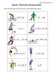 sports fill in worksheet