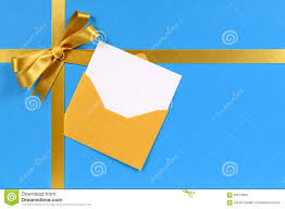 Blank Invitation Cards And Envelopes Gold Bow Gift Ribbon Christmas Card In Envelope Blue Background