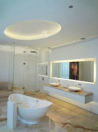modern white bathroom design ideas with two mini recessed led roof