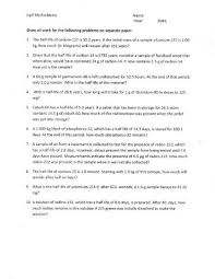 nuclear reactions and half life worksheet plymouth state