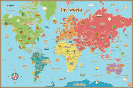 Flat Map Of World by Childrens Map Of The World Roundtripticket Me