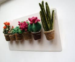 cactus brooch succulents faux cactus felted plants felt flower