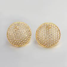 big stud earrings circular mesh big o stud earring high grade jewelry gold and