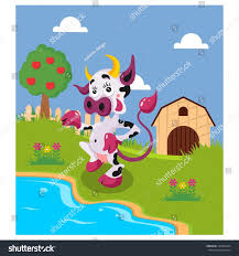 Backyard Cartoon Funny Dairy Cows Standing On River Stock Vector 723609544