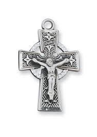 celtic crucifix sterling silver celtic crucifix 5 8 on 18 inch chain l8084
