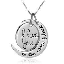 valentines necklace i you to the moon and back silver or gold necklace