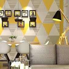 Modern Fashion Yellow Blue Bedroom Washable Triangle Wall Paper