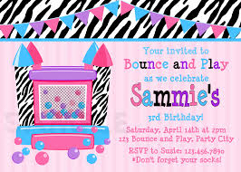 printable birthday invitations girls bounce house party