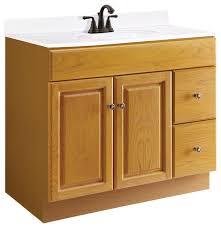 36 Bathroom Vanity With Drawers by Claremont Oak 2 Door 2 Drawer Vanity Honey Oak Finish 36