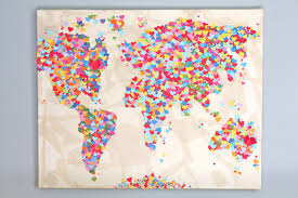 Canvas Map Of The World by United Colors Of Love World Map Welcometothemousehouse Com