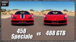 ferrari 488 speciale ferrari 488 gtb vs 458 speciale drag race forza horizon 3 youtube