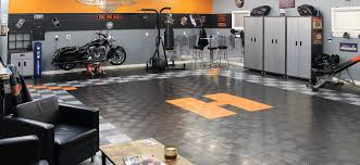 garage design with concrete garage floor and garage storage or