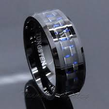 mens blue wedding bands men s tungsten ring with carbon fiber 8mm black and blue wedding