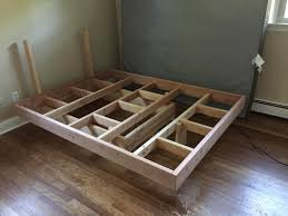 floating bed frame with tools and detailed steps diy