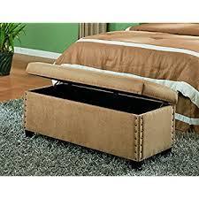 amazon com coaster classic storage bench with nailhead trim