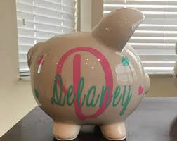 monogrammed piggy bank girl piggy bank etsy
