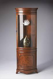 curved corner curio cabinet ideal tessa lighted curio cabinet cherry oak glass shelves wooden