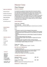 Resume Job Description by Manager Resume Examples Plant Manager Resume Production Job