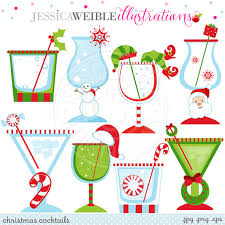 christmas cocktail party christmas cocktails cute christmas digital clipart commercial use