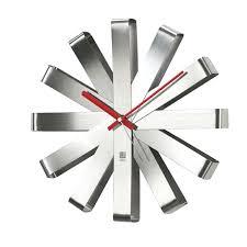 1960s wall clock modern silver round 3d diy frameless large mirror