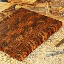 made zebrawood end grain cutting board by carolina wood